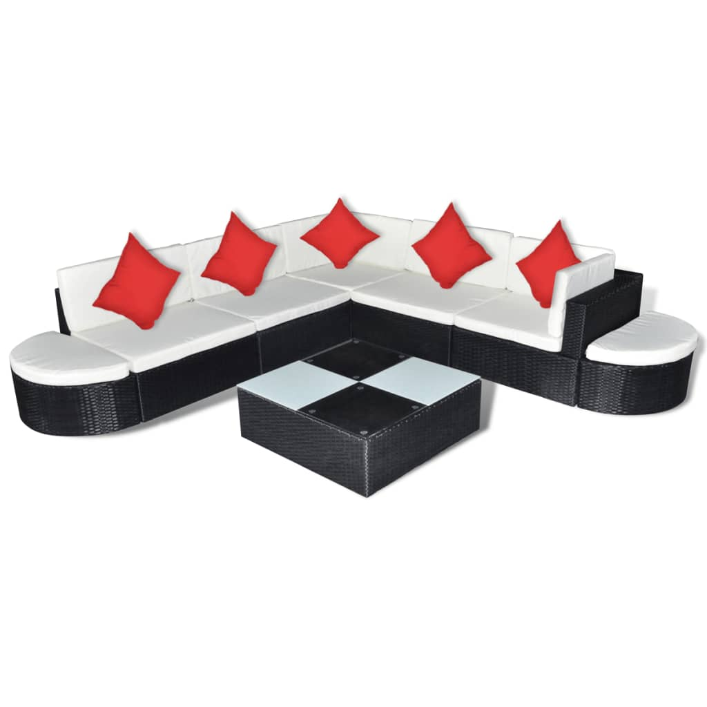 polyrattan sitzgruppe gartenm bel sitzgarnitur schwarz. Black Bedroom Furniture Sets. Home Design Ideas