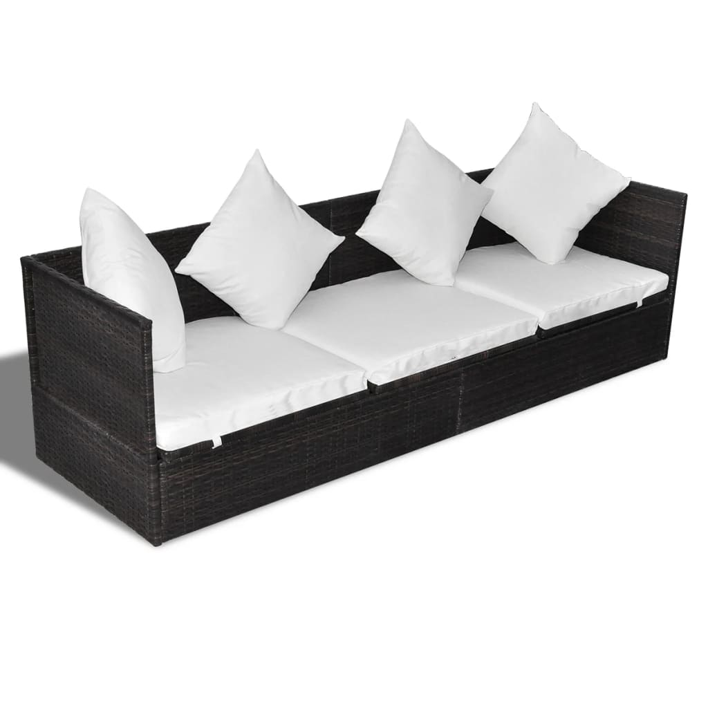 la boutique en ligne canap lit bain de soleil rotin brun avec oreillers et coussins. Black Bedroom Furniture Sets. Home Design Ideas