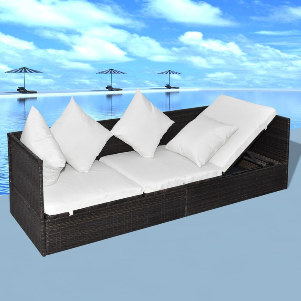 der rattan sonnenliege gartenliege rattanbett braun online shop. Black Bedroom Furniture Sets. Home Design Ideas