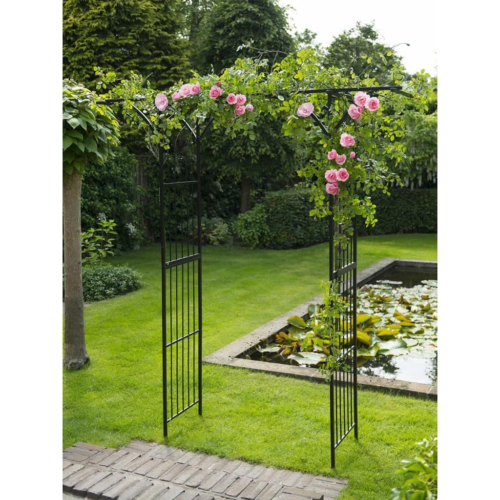 Nature arco para jard n 114x66x232 cm acero negro 6040801 for Arcos para jardin