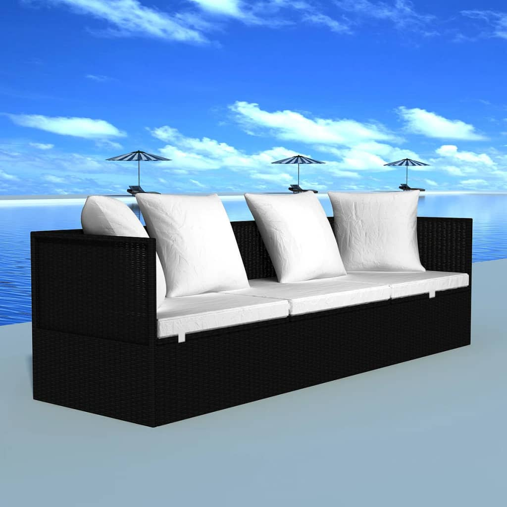 rattan sonnenliege gartenliege rattanbett schwarz g nstig kaufen. Black Bedroom Furniture Sets. Home Design Ideas