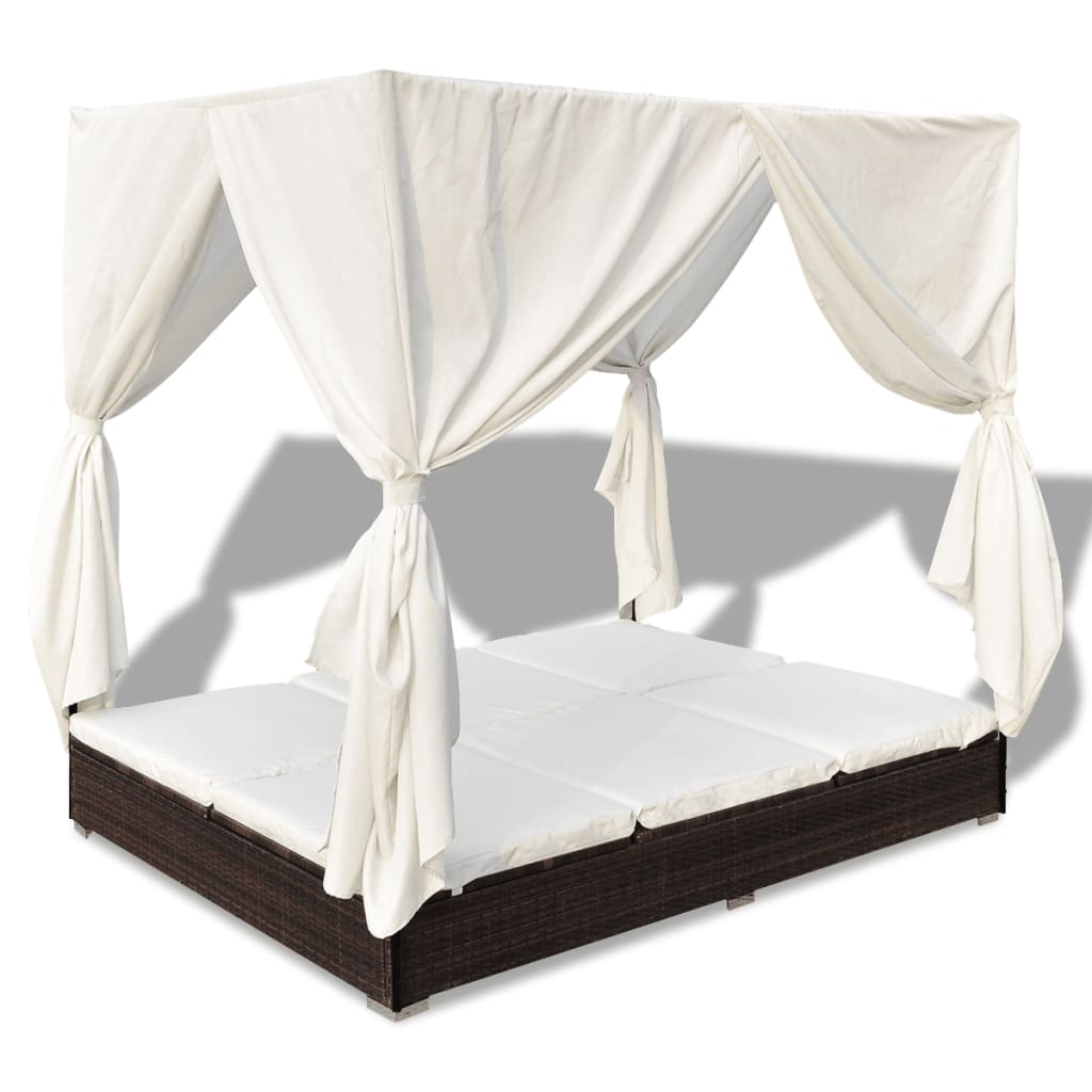 der braun rattan sonnenliege gartenliege rattanm bel himmelbett online shop. Black Bedroom Furniture Sets. Home Design Ideas