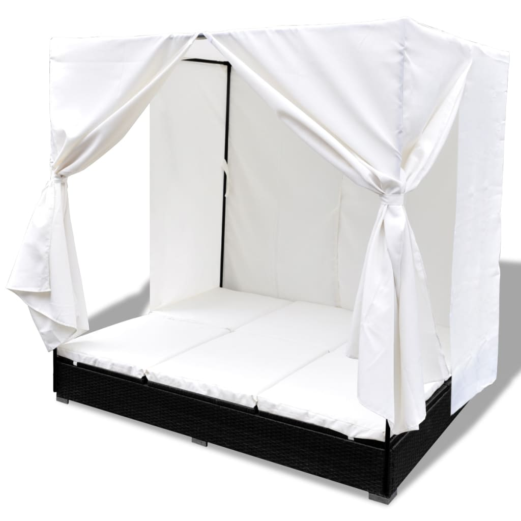 Luxury Outdoor Black Rattan Sun Bed 2 Persons With Curtain