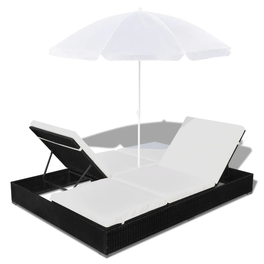 la boutique en ligne bain de soleil double en rotin avec parasol noir. Black Bedroom Furniture Sets. Home Design Ideas