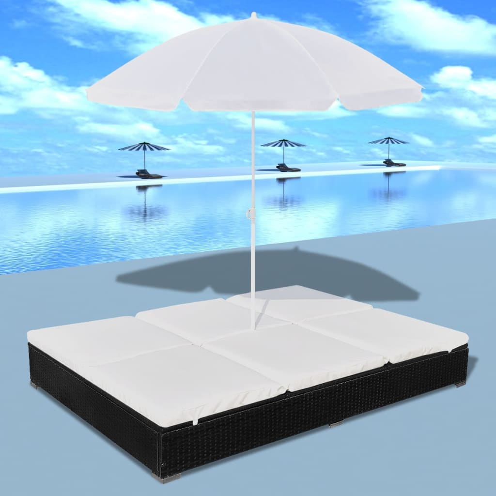bain de soleil double en rotin avec parasol lit de jardin ext rieur rotin ebay. Black Bedroom Furniture Sets. Home Design Ideas
