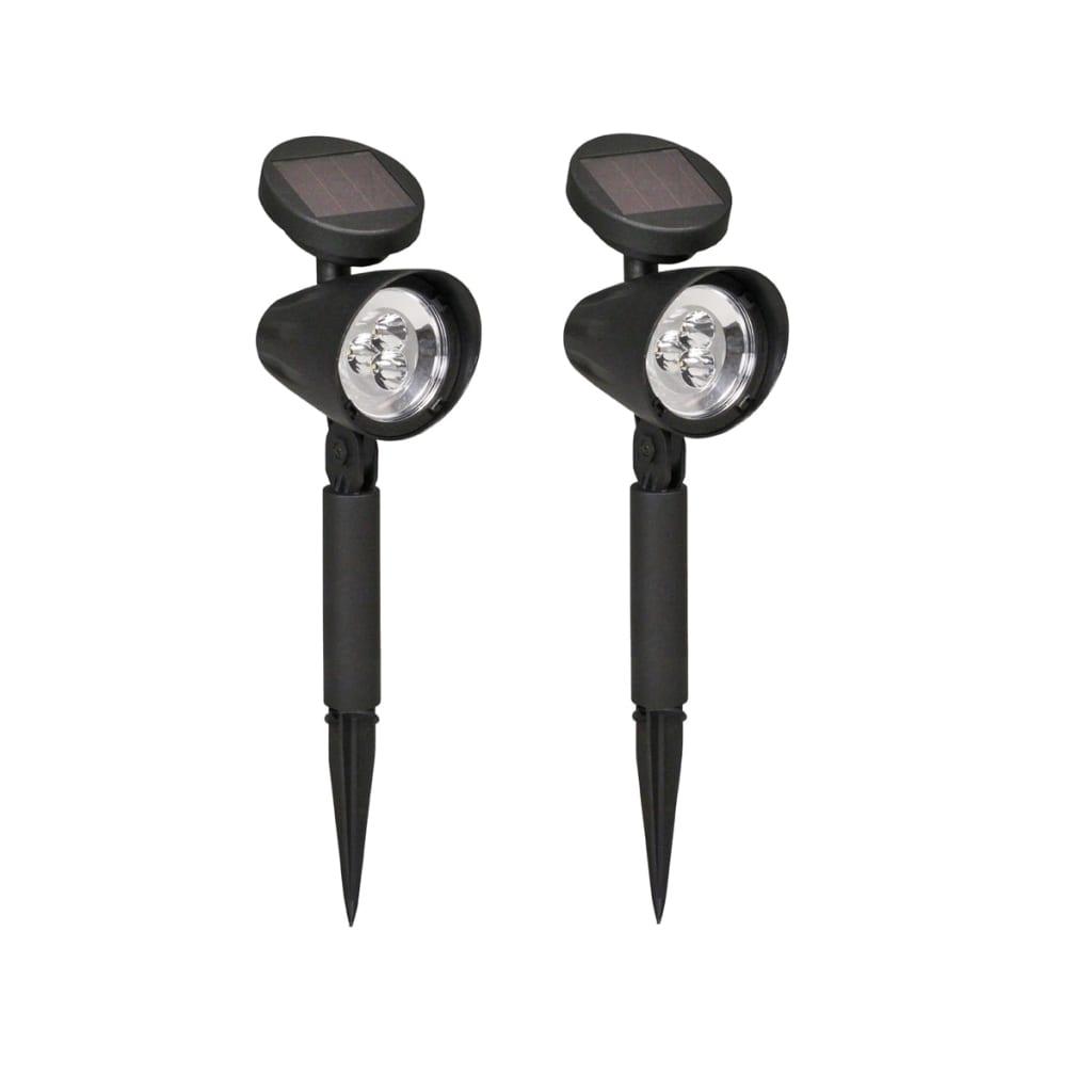 Luxform focos de jard n solares lazise 2 unidades negro - Focos solares jardin ...