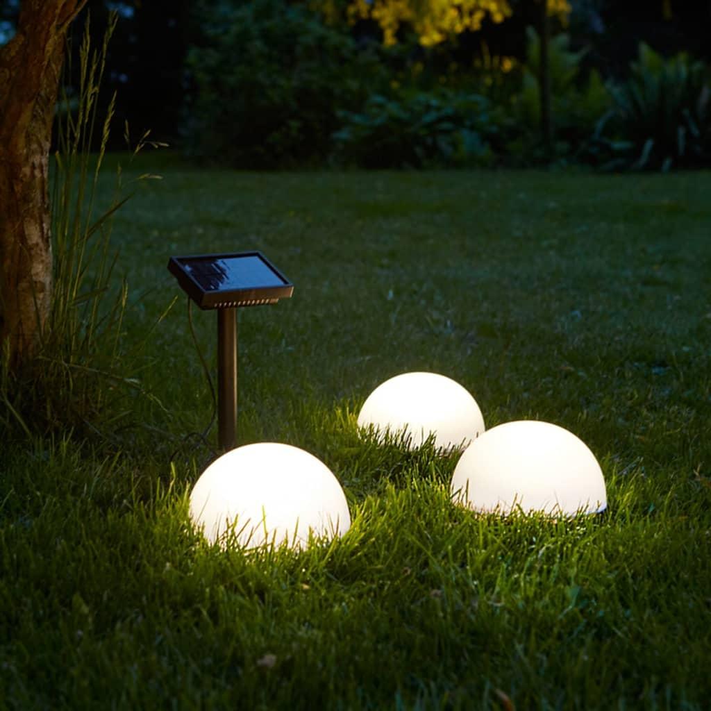 Luz LED Solar de Suelo 3 Uds blancoo Semi-Globo Jardín Luxform Clervaux 40300