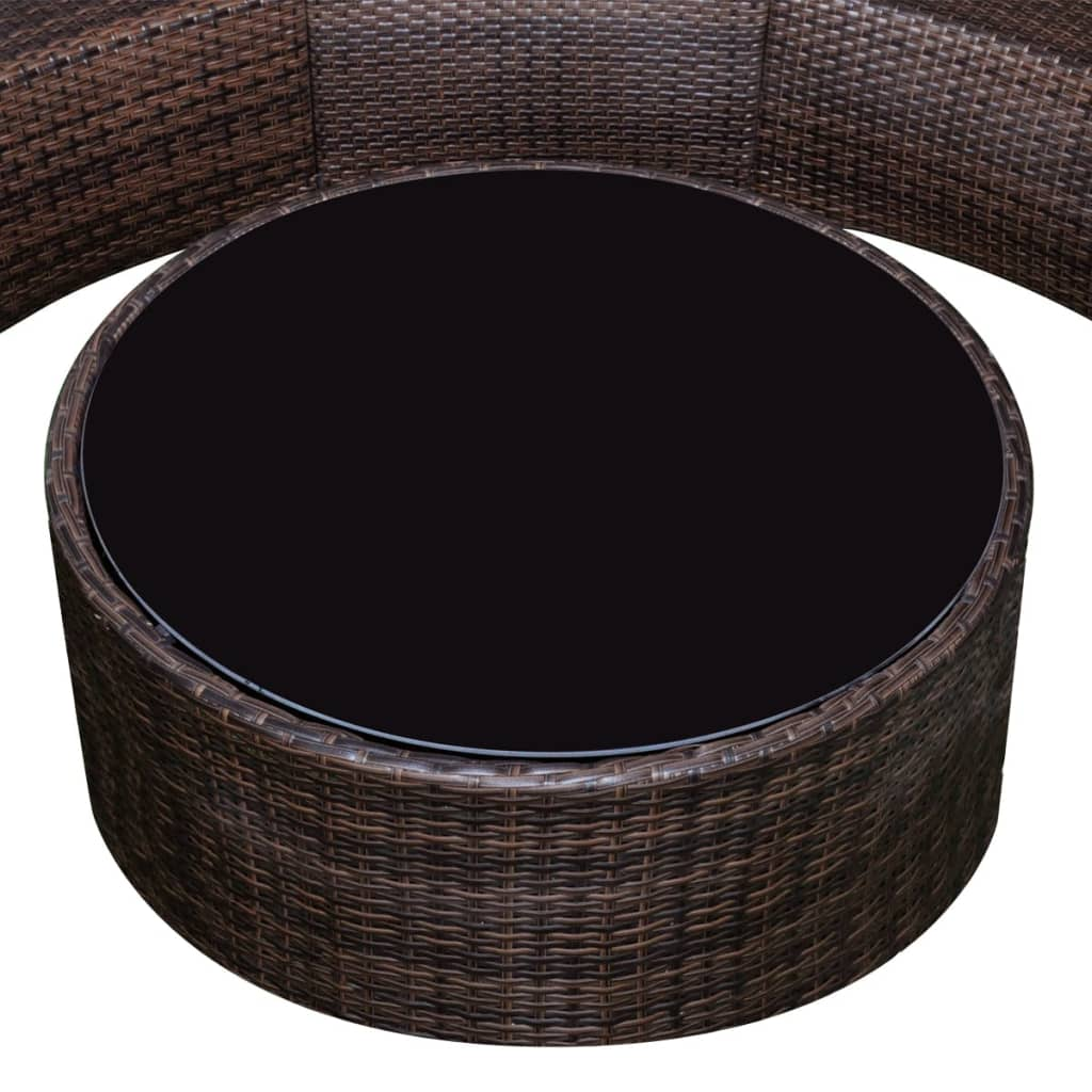 vidaxl brown garden half round poly rattan sofa lounge set with table. Black Bedroom Furniture Sets. Home Design Ideas