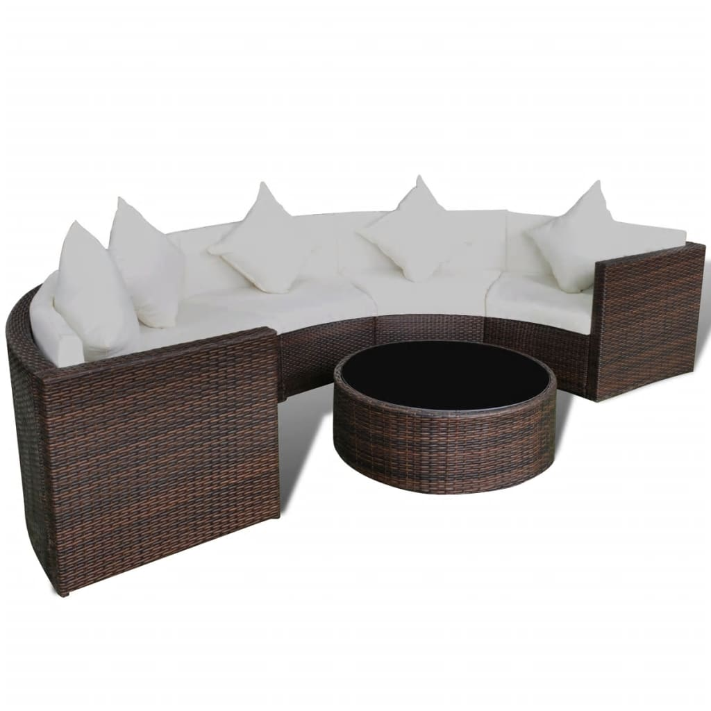 vidaxl brown garden half round poly rattan sofa set with table lounge set. Black Bedroom Furniture Sets. Home Design Ideas