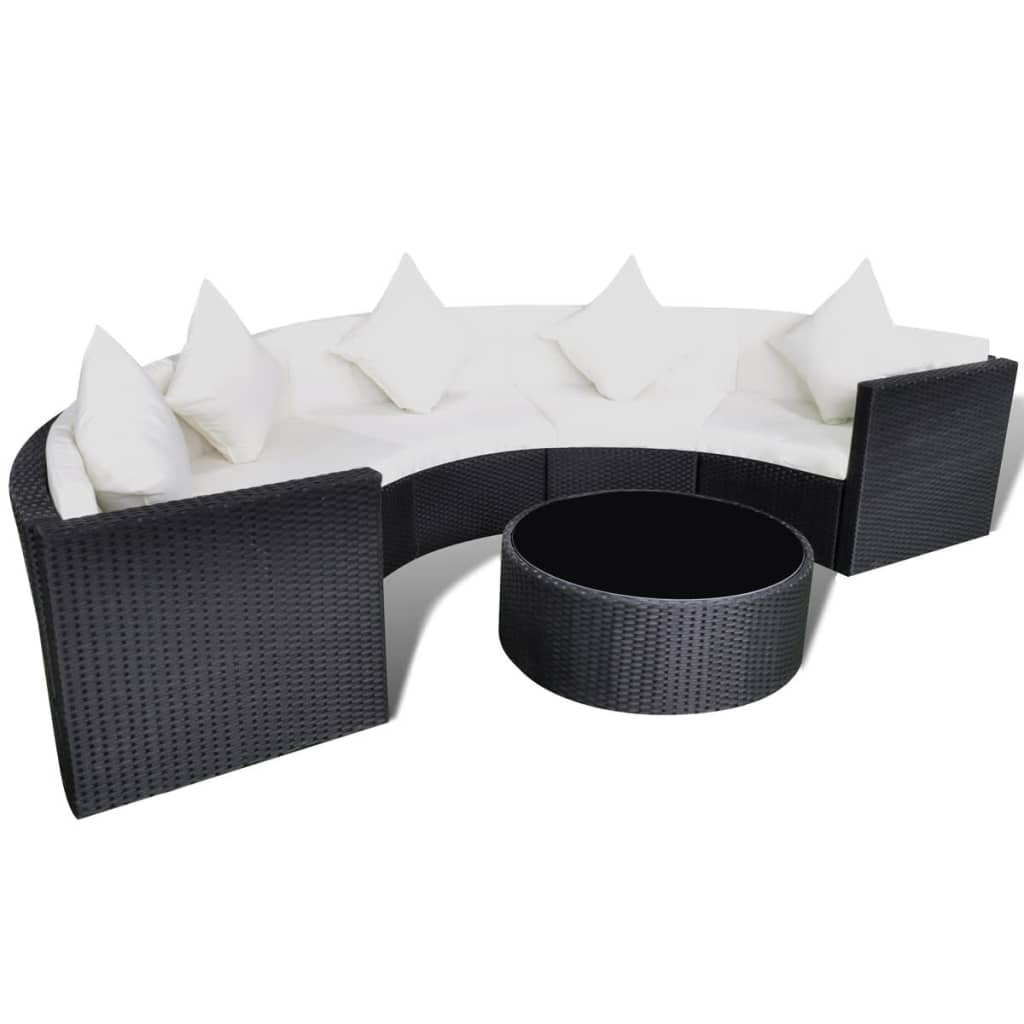 vidaxl black garden half round poly rattan sofa set with table lounge set. Black Bedroom Furniture Sets. Home Design Ideas