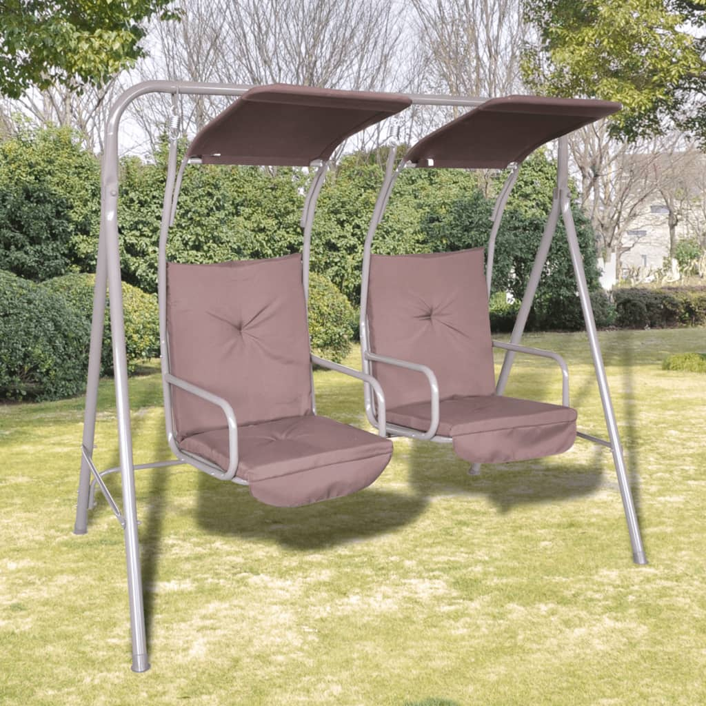 outdoor swing chair with 2 canopies 2 seats brown