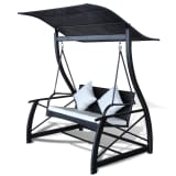 Outdoor Hanging Swing Chair with Roof Black Rattan