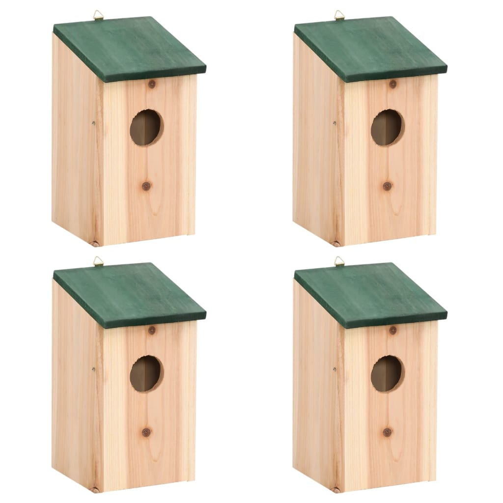 Bird House Nesting Box Wood 4 Pcs VidaXL.com. Full resolution‎  image, nominally Width 1024 Height 1024 pixels, image with #35594A.