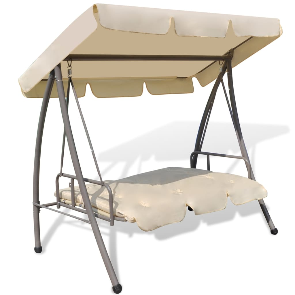 outdoor swing chair bed with canopy sand white