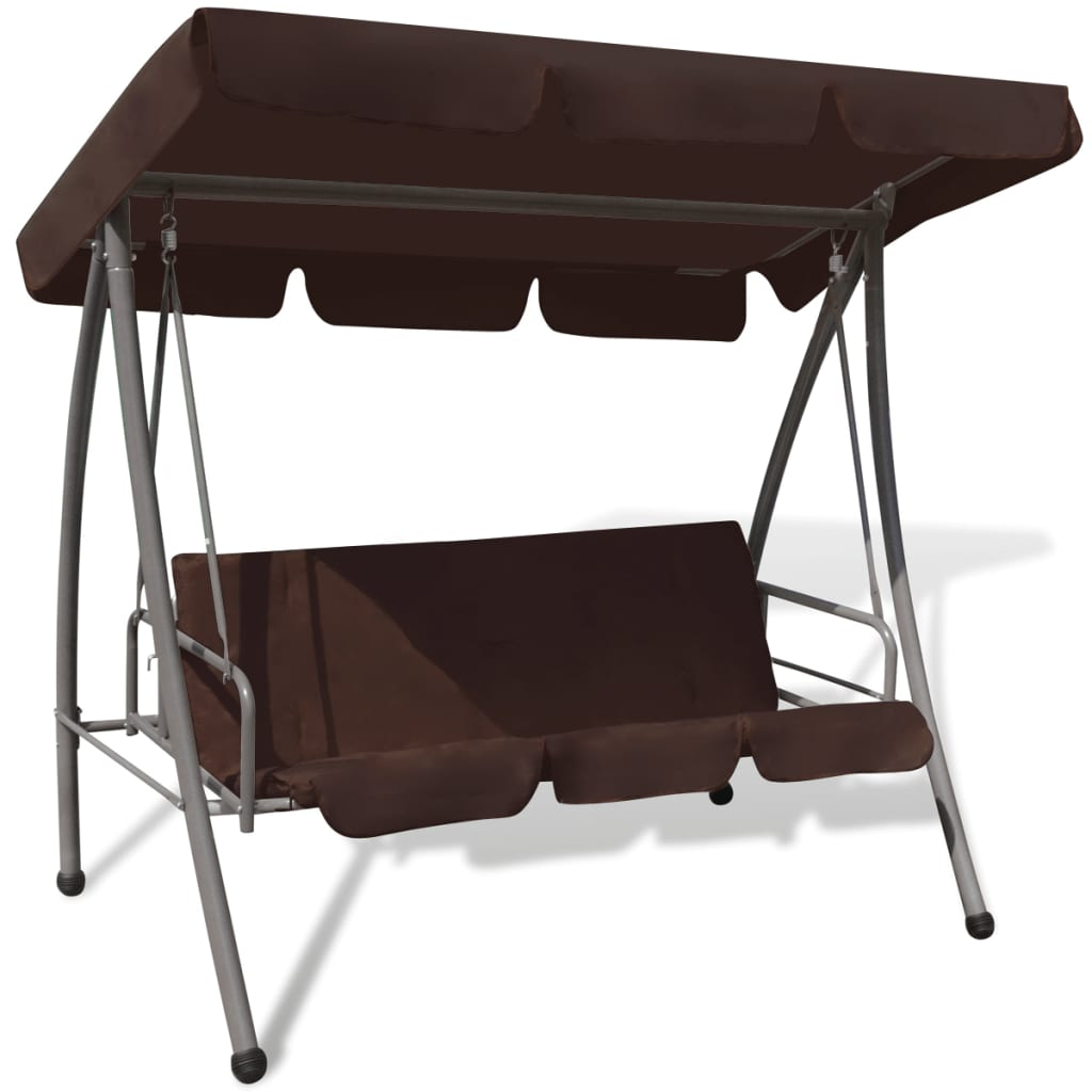 Outdoor Swing Chair Bed with Canopy Coffee