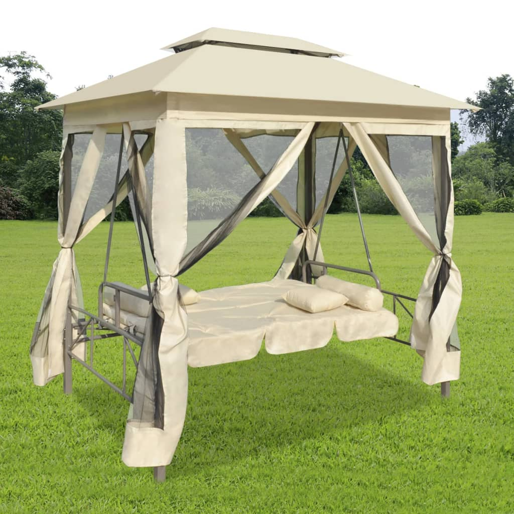 Luxury Outdoor Gazebo Swing Chair Sunbed Cream White