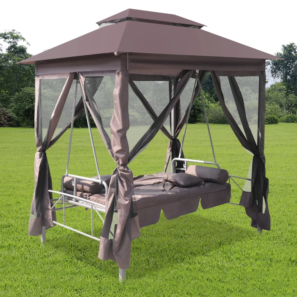 luxury outdoor gazebo swing chair sunbed coffee. Black Bedroom Furniture Sets. Home Design Ideas