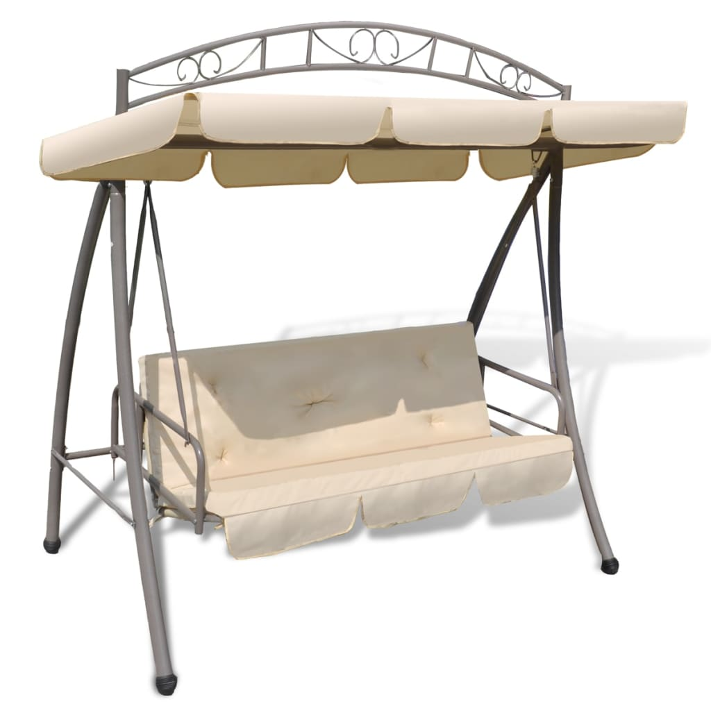 Outdoor Swing Chair Bed Canopy Patterned Arch Sand White