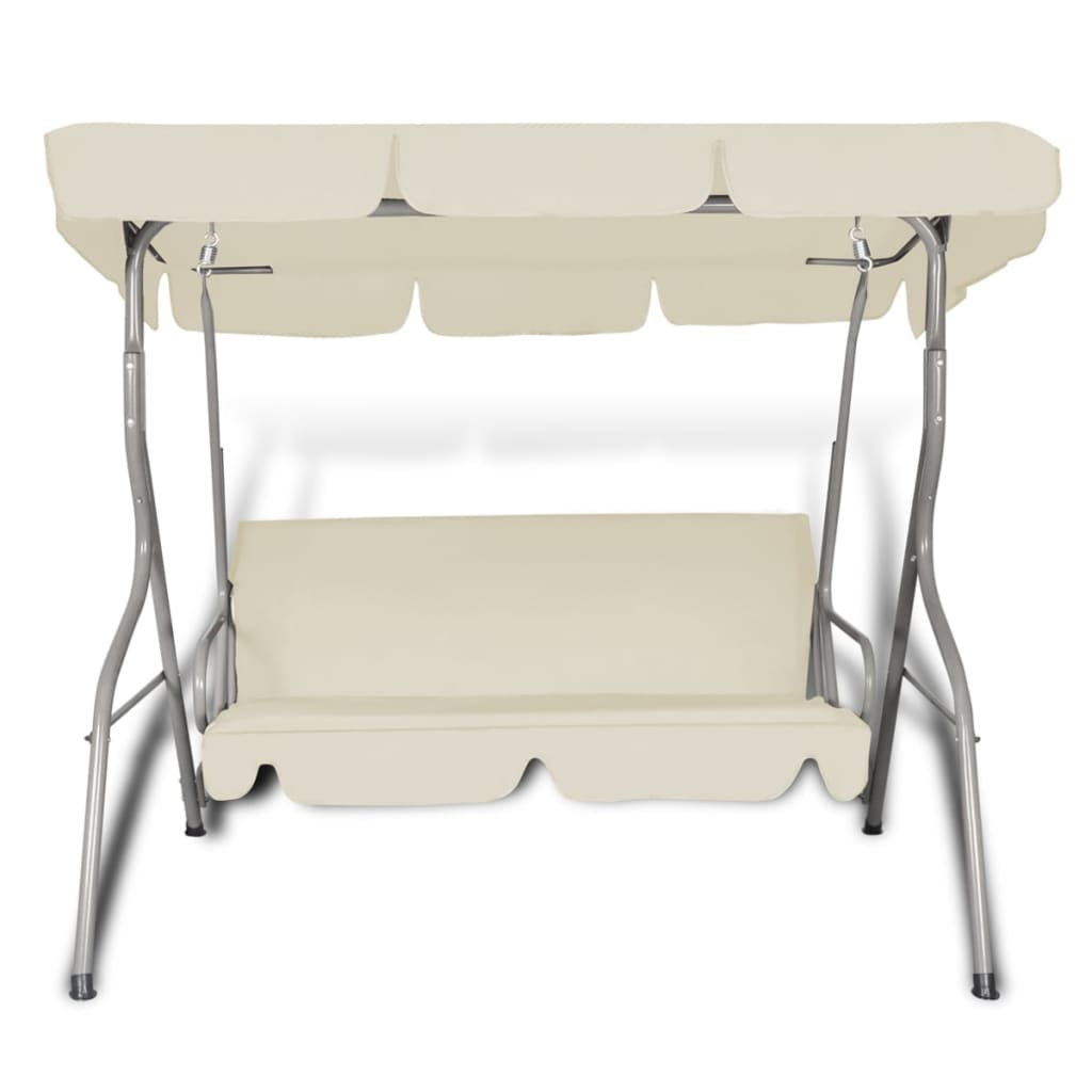 Outdoor Hanging Swing Chair with a Canopy Sand White for 3