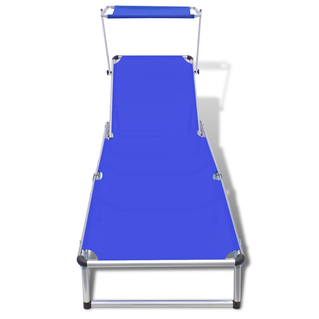 Sunbed with aluminum frame and textilene fabric blue for Chaise aluminium textilene