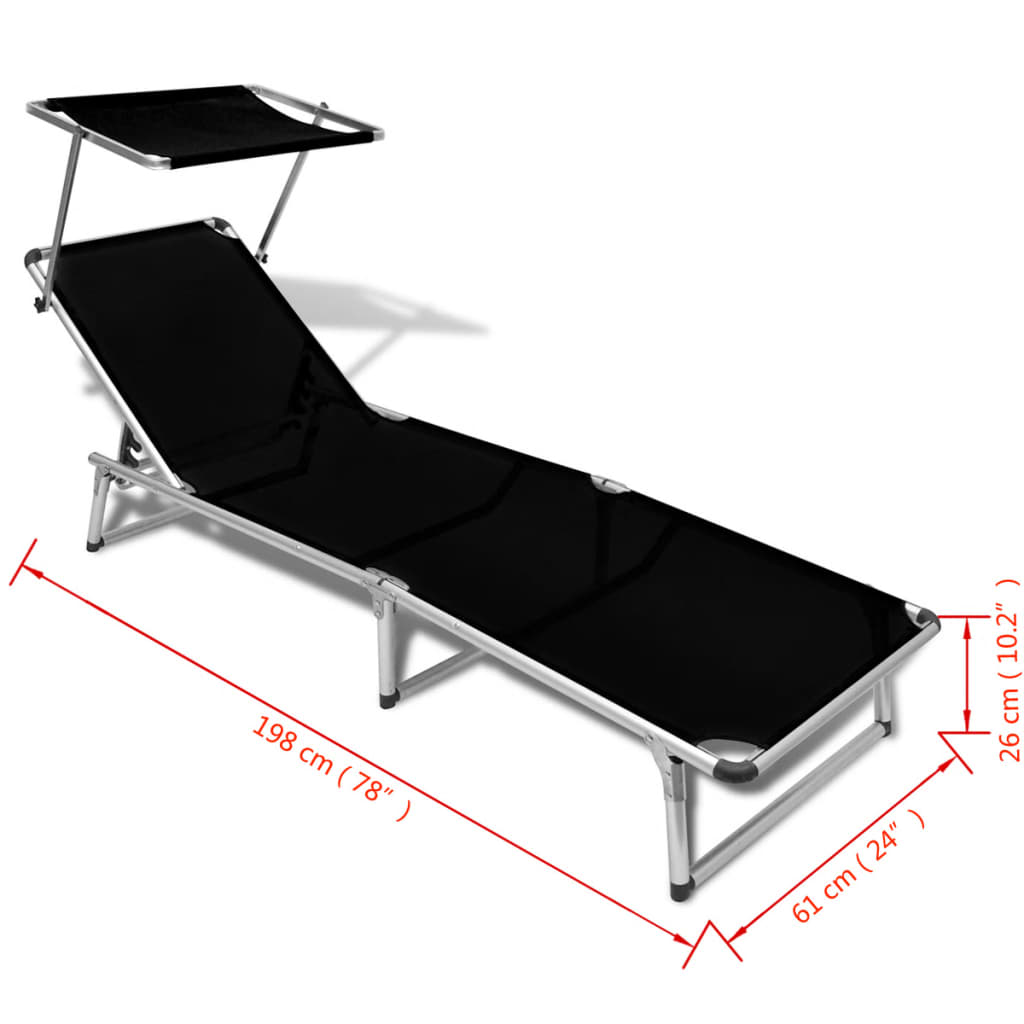 Sunbed with aluminum frame and textilene fabric black for Chaise aluminium textilene