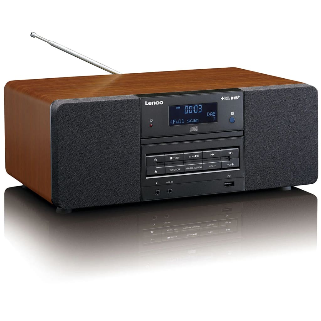 lenco dab fm radio met cd mp3 speler dar 050 hout online kopen. Black Bedroom Furniture Sets. Home Design Ideas