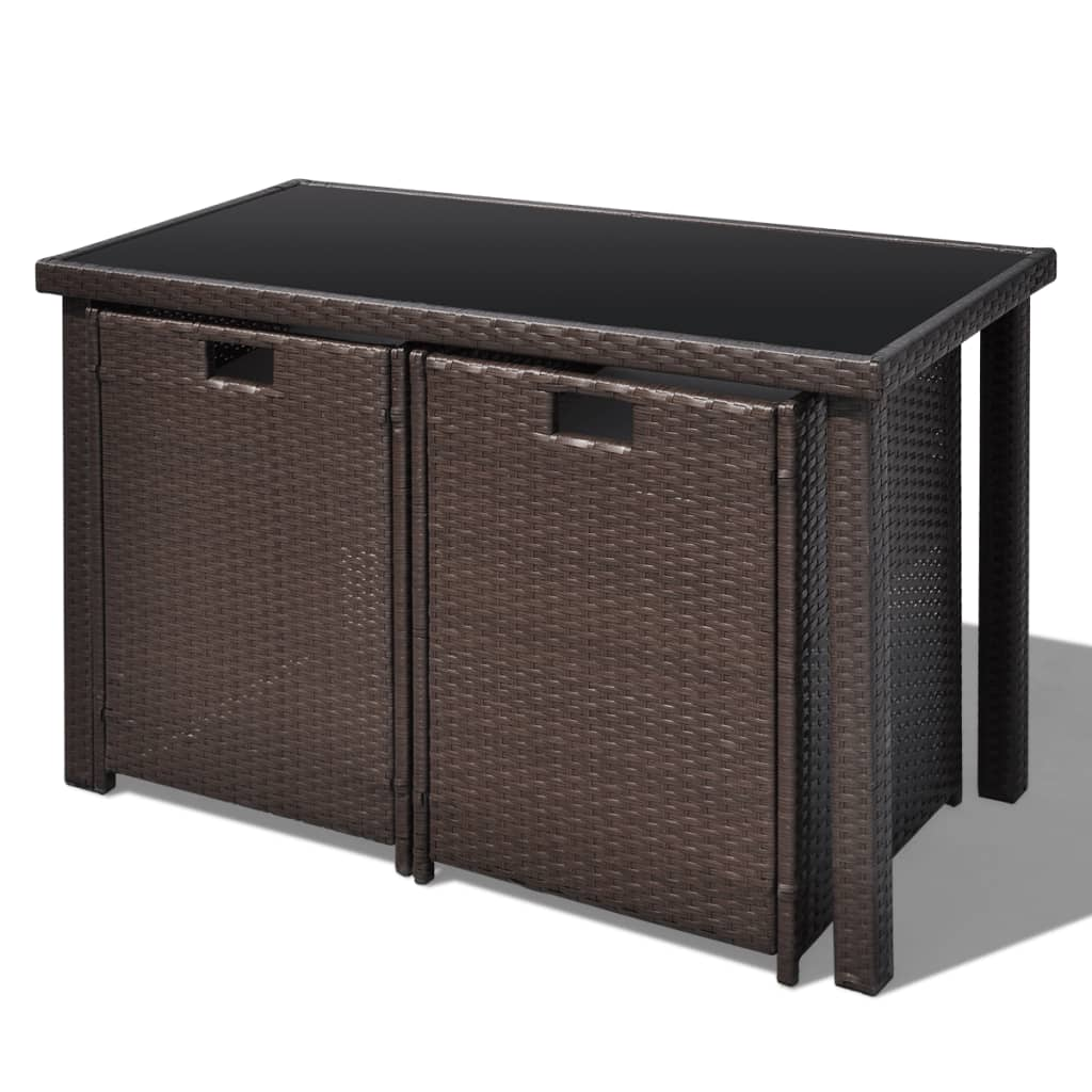 vidaxl brown poly rattan dinning set table 2 chairs 2. Black Bedroom Furniture Sets. Home Design Ideas