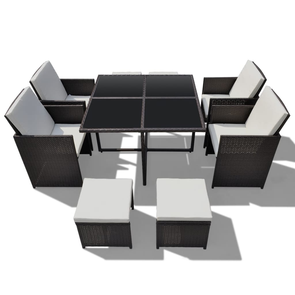 vidaxl brown poly rattan dinning set table 4 chairs 4. Black Bedroom Furniture Sets. Home Design Ideas