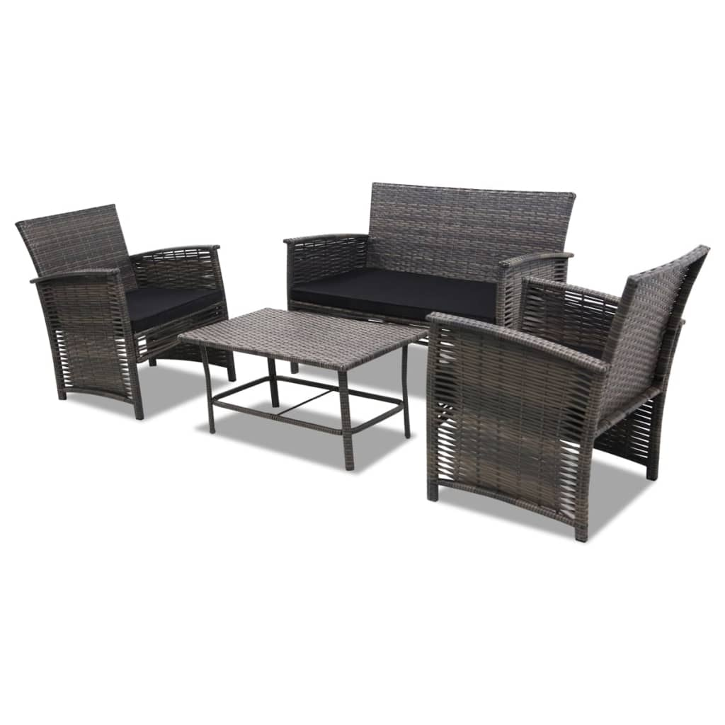vidaxl gartenm bel set 4 tlg grau poly rattan g nstig. Black Bedroom Furniture Sets. Home Design Ideas
