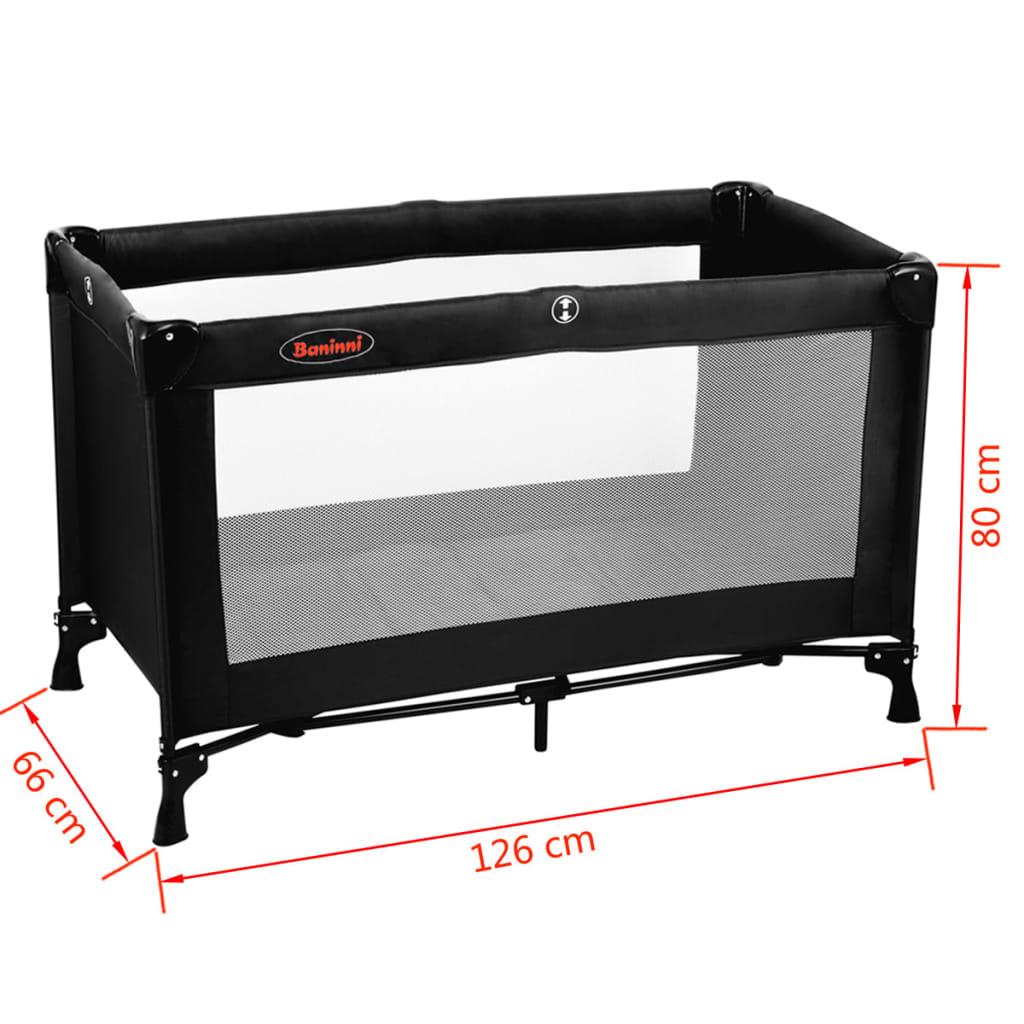 baninni lit pliant nido 80 x 66 x 126 cm noir. Black Bedroom Furniture Sets. Home Design Ideas