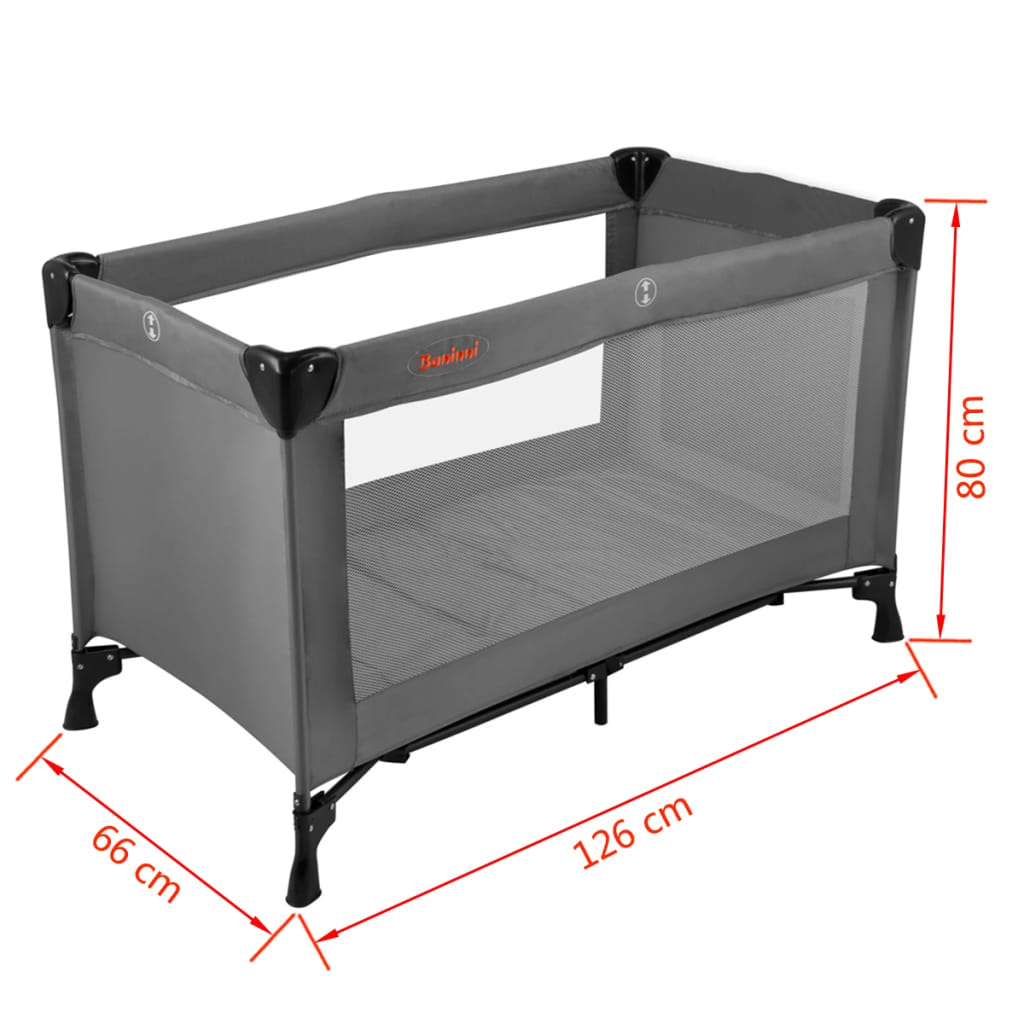 acheter baninni lit pliant nido 80 x 66 x 126 cm gris pas cher. Black Bedroom Furniture Sets. Home Design Ideas