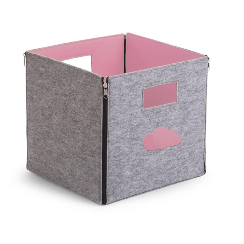 acheter bo te de rangement en feutre gris rose clair pas cher. Black Bedroom Furniture Sets. Home Design Ideas