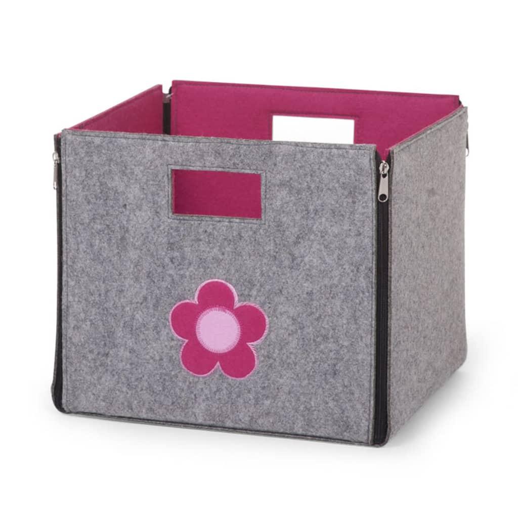 acheter bo te de rangement en feutre gris fuchsia pas cher. Black Bedroom Furniture Sets. Home Design Ideas