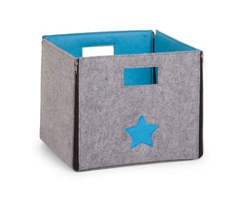bo te de rangement en feutre gris turquoise. Black Bedroom Furniture Sets. Home Design Ideas