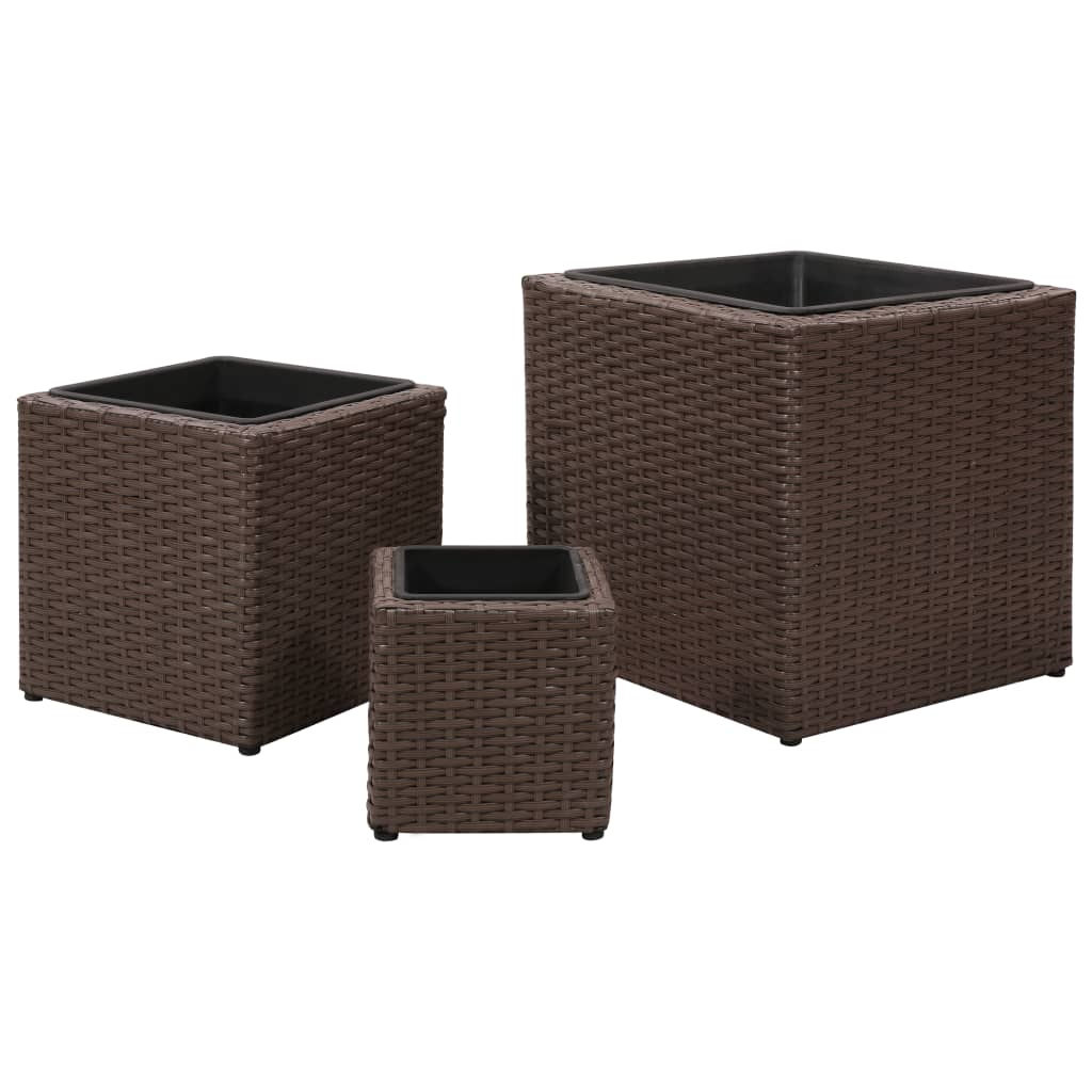 la boutique en ligne lot de 3 pots de fleurs carr en rotin marron. Black Bedroom Furniture Sets. Home Design Ideas