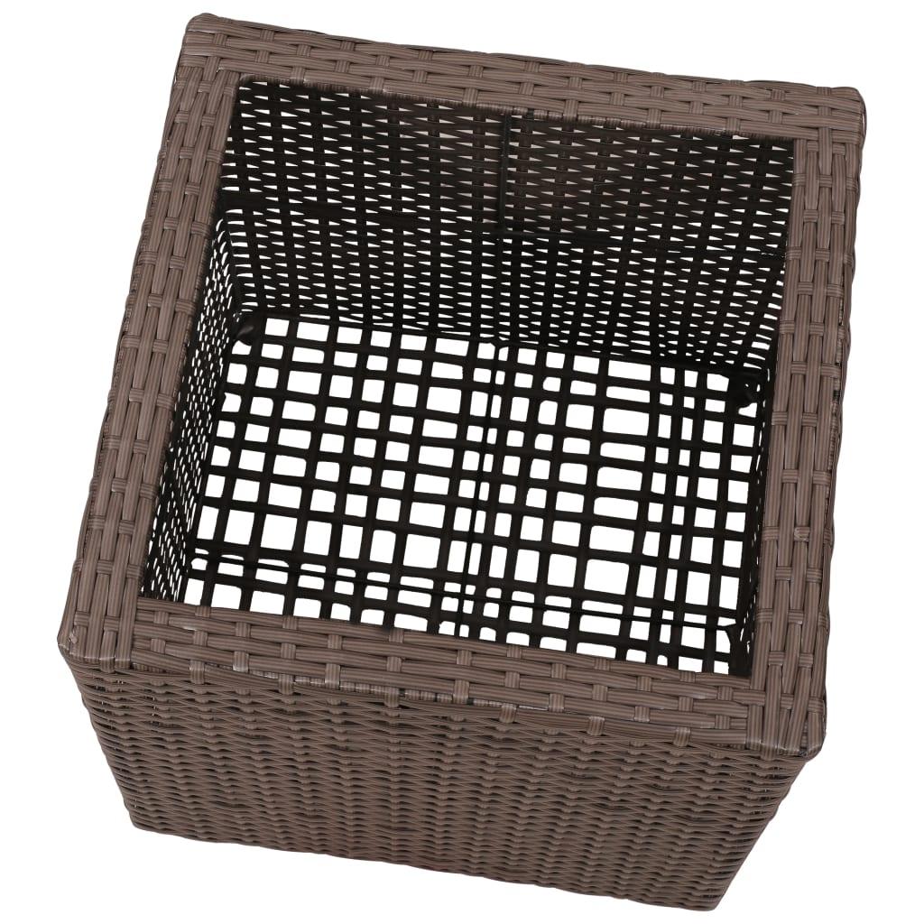Vidaxl 3x fioriera in rattan set quadrato marrone for Vasi in rattan