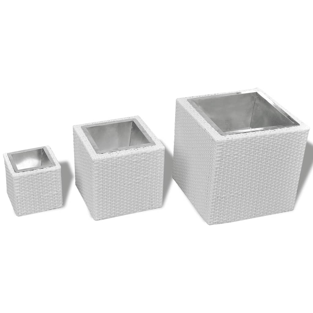 la boutique en ligne lot de 3 bacs pots de fleurs en rotin blanc. Black Bedroom Furniture Sets. Home Design Ideas