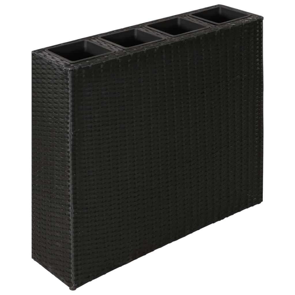 plantenbak wicker rechthoek zwart. Black Bedroom Furniture Sets. Home Design Ideas