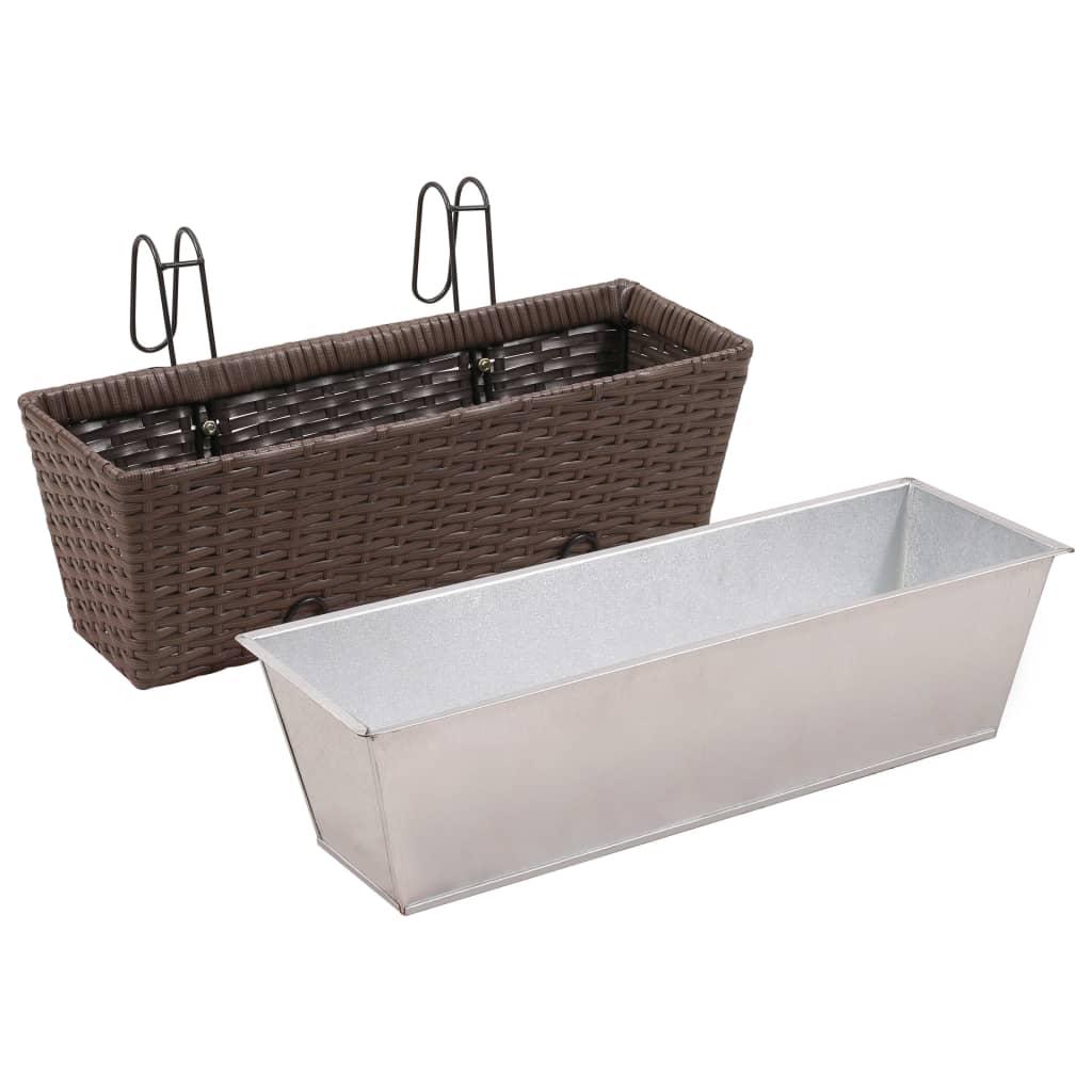 vidaxl trapezium balkon plantenbak 50 cm rattan bruin 2 st online kopen. Black Bedroom Furniture Sets. Home Design Ideas