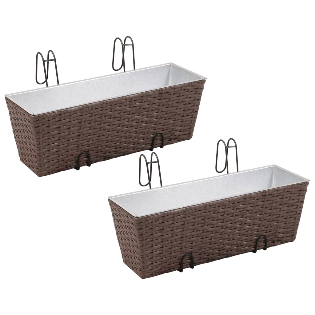 acheter lot de 2 bacs pot de fleurs trap ze pour balcon en rotin marron 50 cm pas cher. Black Bedroom Furniture Sets. Home Design Ideas