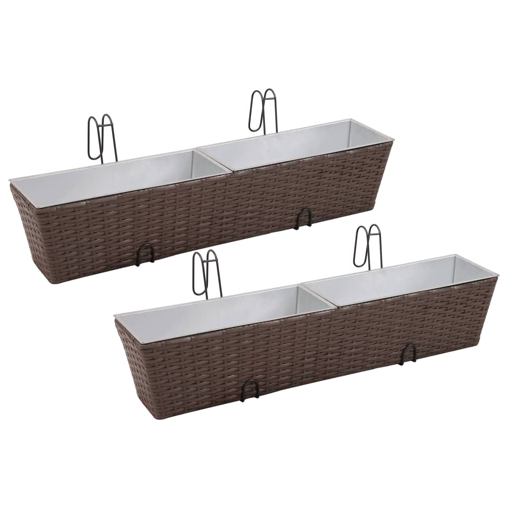 Balcony hanging rattan planter set 30 inch 2 pcs brown for Balcony planters