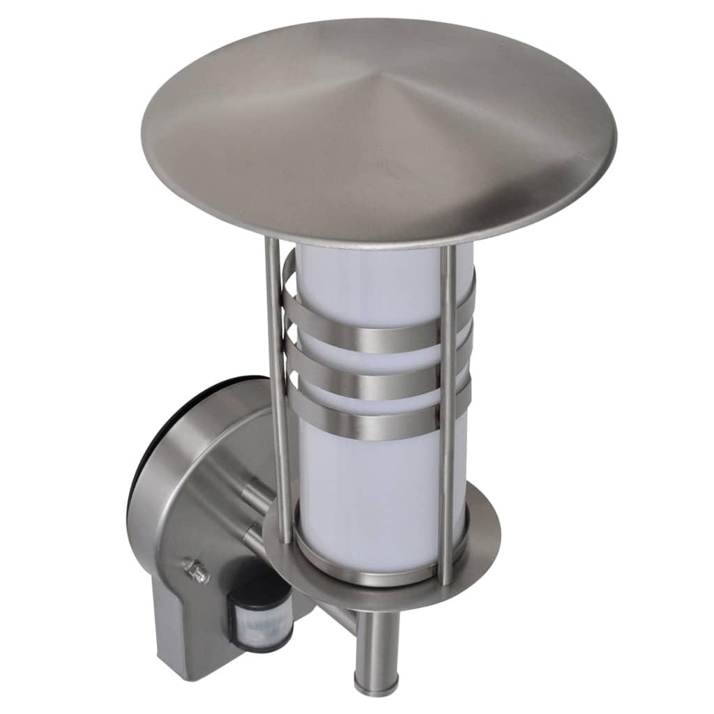 Vägglampa pagodformad med sensor E27 rostfritt stål