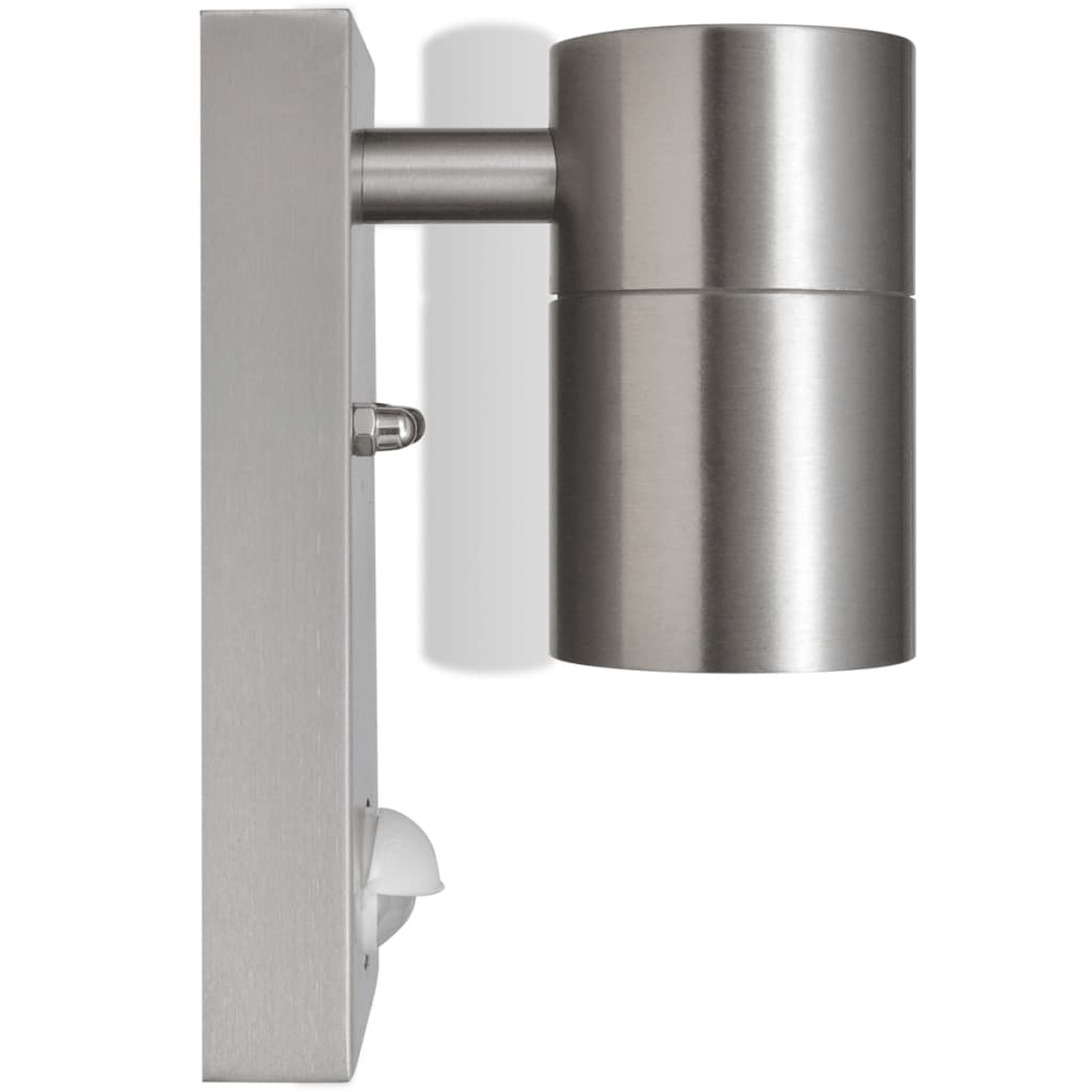 LED Wall Lamp Stainless Steel Cylinder Shape Silver Sensor