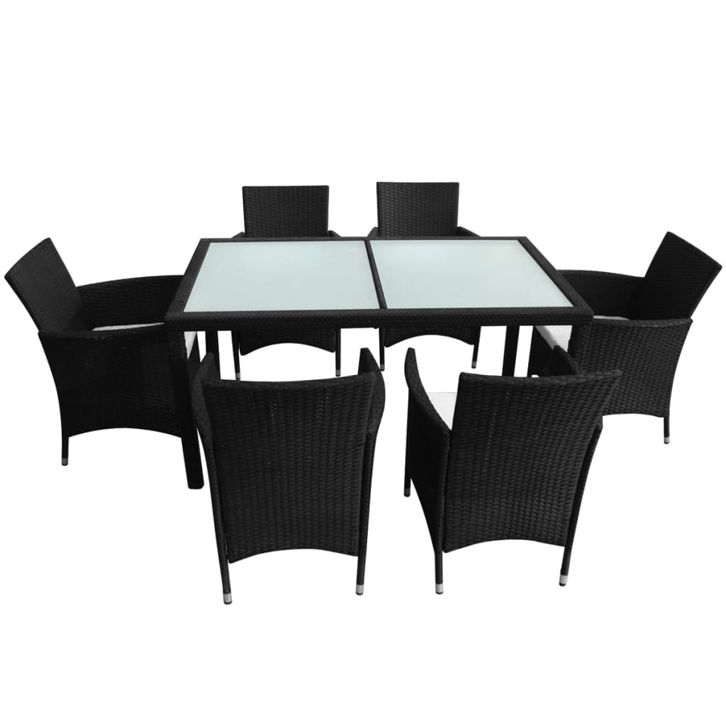 Vidaxl black poly rattan garden furniture set 1 table 6 for Table 6 chaises