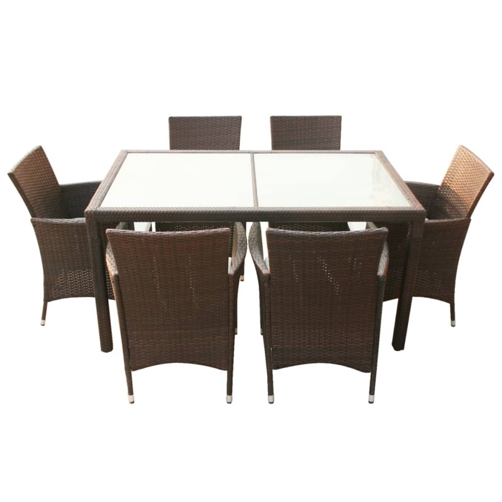 vidaxl brown poly rattan garden furniture set 1 table 6 chairs. Black Bedroom Furniture Sets. Home Design Ideas