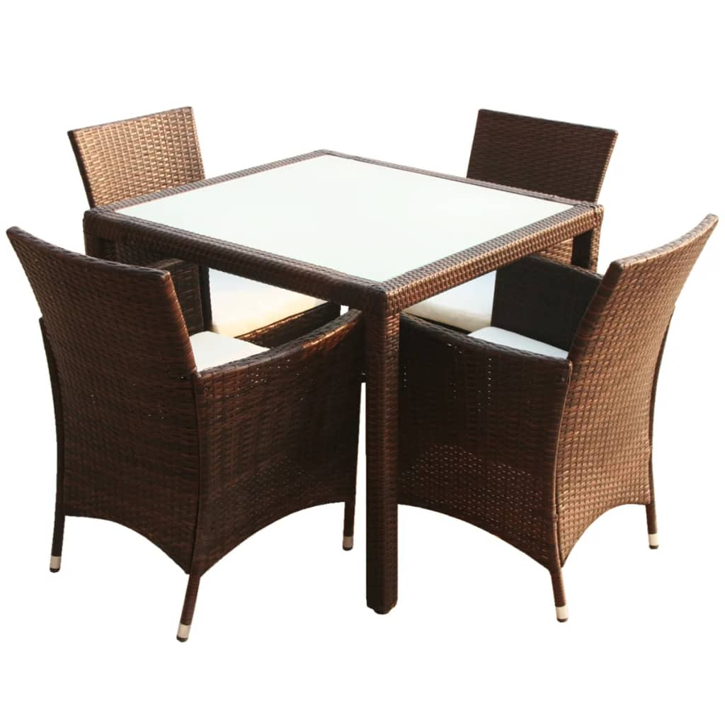 Vidaxl brown poly rattan garden furniture for Bamboo furniture uk