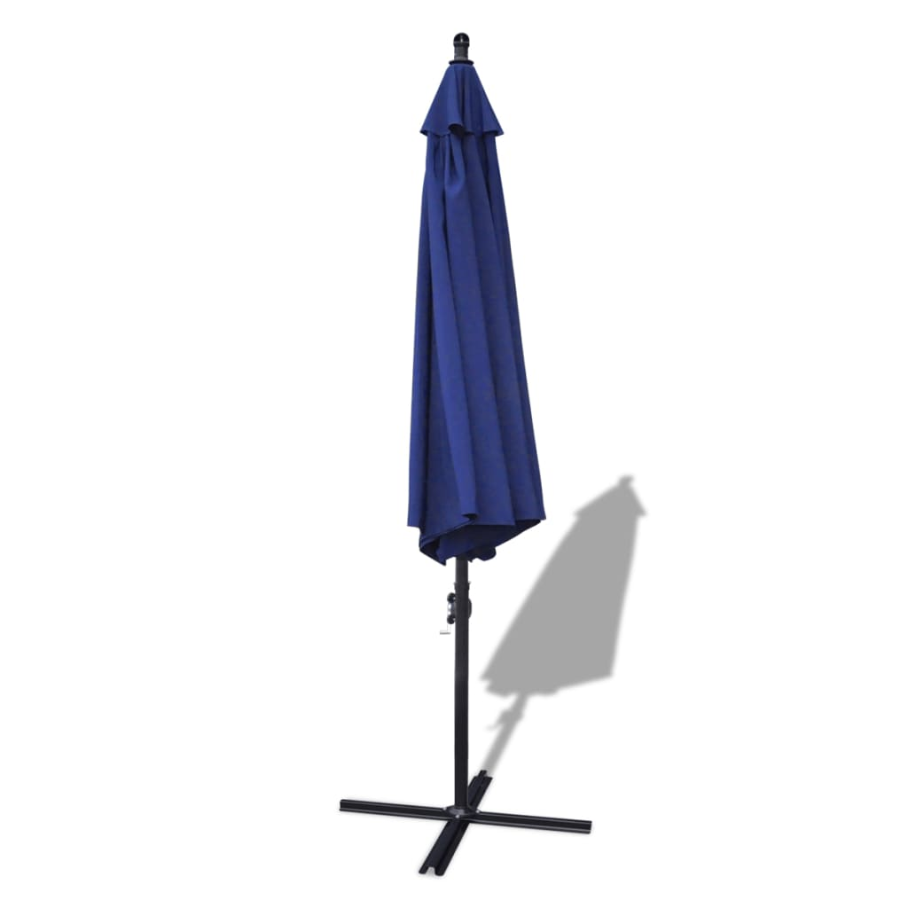 outdoor large hanging parasol 3 5 m blue aluminium pole. Black Bedroom Furniture Sets. Home Design Ideas