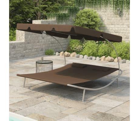 Gartenliege Sonnenliege Doppelliege mit Dach & 2 Kissen Braun