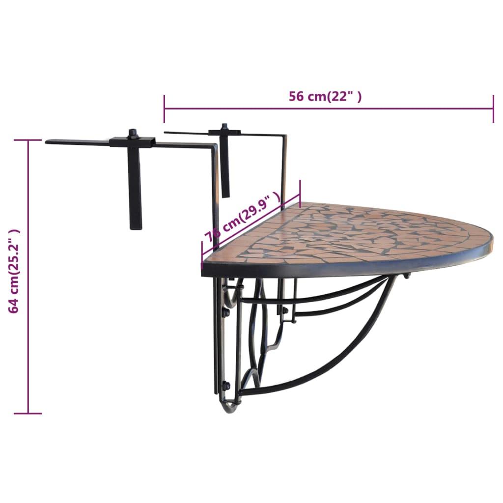 la boutique en ligne table de balcon suspendue demi circulaire terre cuite. Black Bedroom Furniture Sets. Home Design Ideas