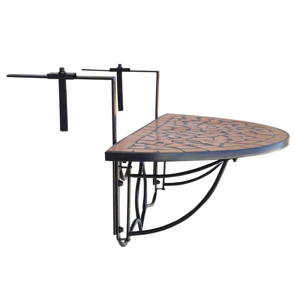 balkontafel moza ek terracotta half rond. Black Bedroom Furniture Sets. Home Design Ideas